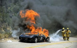 Fire being extinguished in an electric car